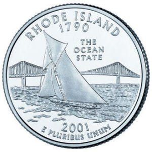 Cufflinks RHODE ISLAND State Quarter 25c USA Coin - New Cuffl  FREE SHIPPING
