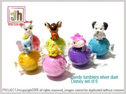 Sweet Candy tumbler set of 6 cleo bambi cheshire dalmatian Marie Dumbo Disney Sega Japan