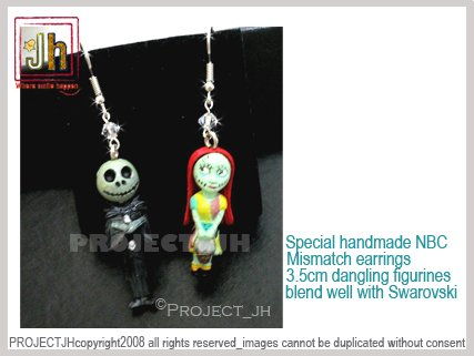Special handmade Nightmare before Christmas MisMatch earrings Project_JHStore