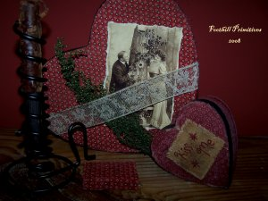 Primitive Fabric Covered Box Set Courting Candle