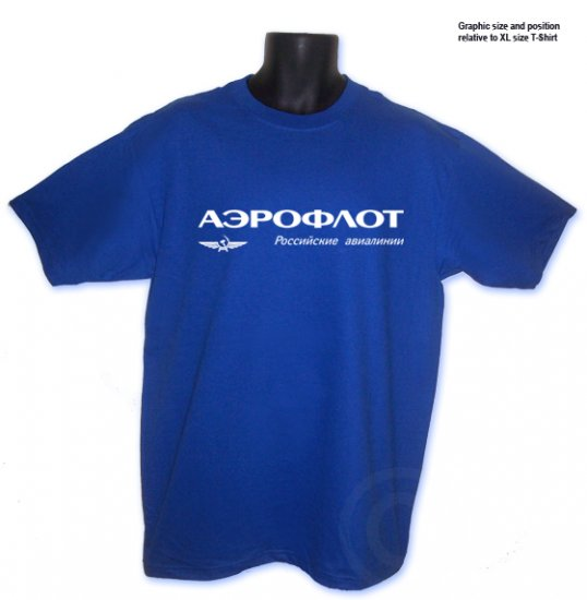 AEROFLOT, Russian airlines T-Shirt Royal Blue S, M, L, XL ~ FREE SHIPPING