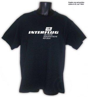 Interflug East German Retro Airline T-Shirt Black S, M, L, XL, 2XL