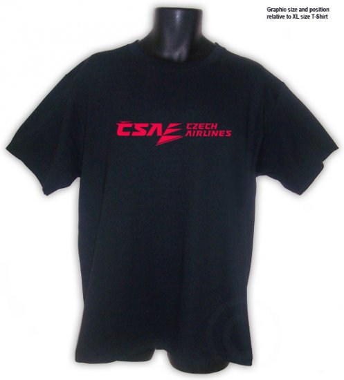 CSA, Czech Airlines Collectible BLACK T-SHIRT S, M, L, XL, 2XL