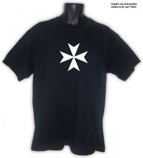 Maltese Cross Knights of Malta Christian T-Shirt Black S, M, L, XL, 2XL