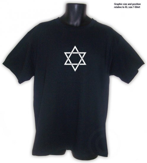 STAR OF DAVID Symbol Jewish T-Shirt Black S, M, L, XL, 2XL