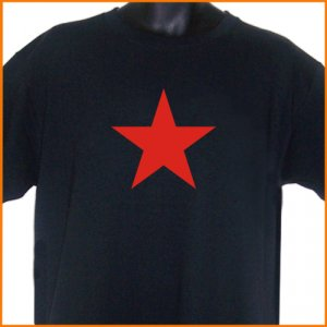 Red Star T-Shirt Black S, M, L, XL ~ FREE SHIPPING