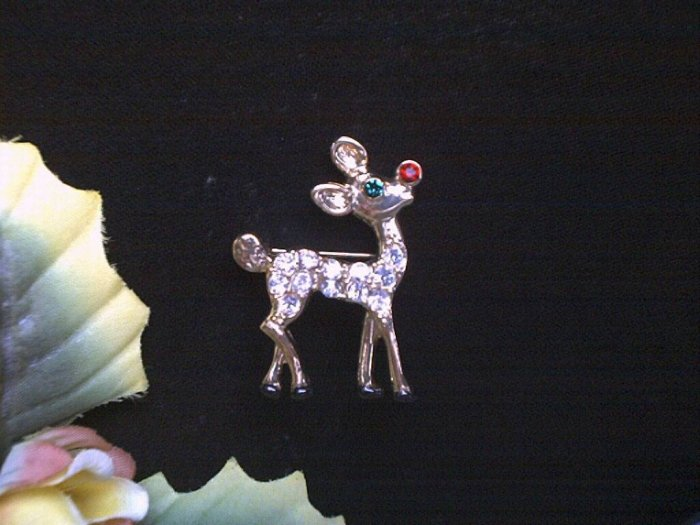 Rudolph The Red Nose Rhinestone Reindeer Brooch