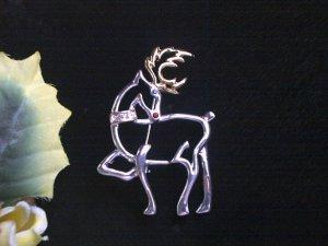 Elegant 2 Tone & Rhinestone Christmas Reindeer Brooch