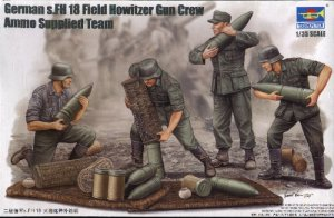 GERMAN s.FH 18 FIELD HOWITZER GUN CREW AMMO SUPPLIED TEAM - 1/35 Trumpeter 426