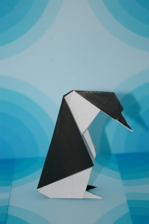 Black & White Origami Penguin
