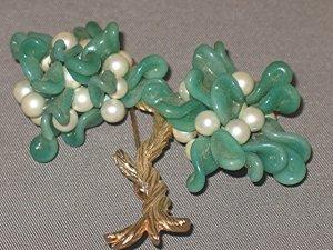 Willow PEKING GLASS & PEARL TREE OF LIFE UNSIGNED TRIFARI pin