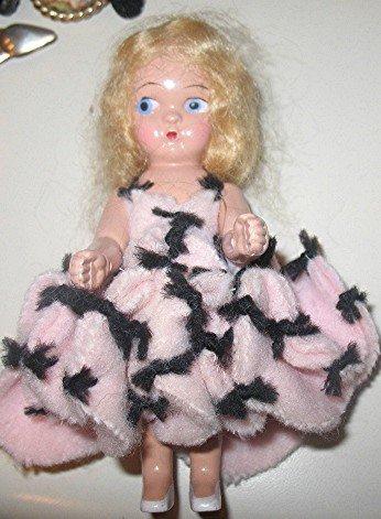 SMALL BLOND HAIR HARD PLASTIC GINNY? DOLL  pink dress