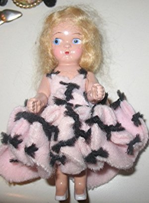 SMALL BLOND HAIR HARD PLASTIC GINNY? DOLL  pink dress
