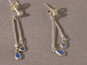 BLUE LASPIS DANGLY STERLING SILVER EARRINGS SO PRETTY VERY DAINTY MARKED