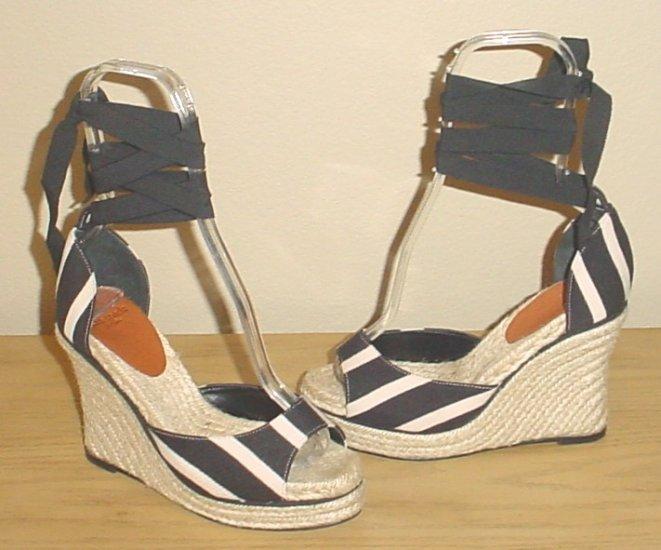 KATE SPADE ESPADRILLES Ankle-Tie Platform Sandals Shoes 9M Black / Tan