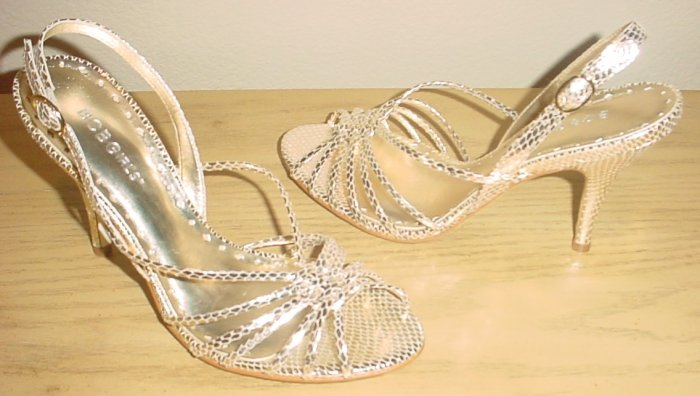 BCBG STRAPPY SANDALS Sicaro Metallic Heels 7.5M GOLD Snakeskin Shoes