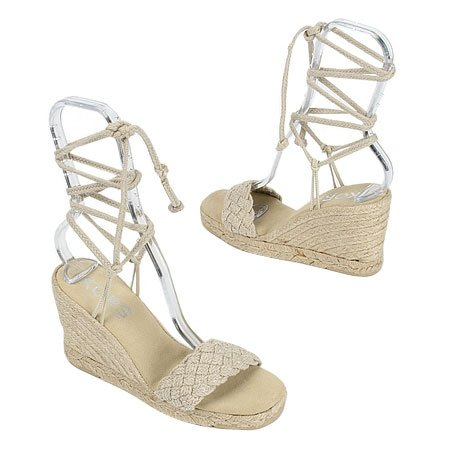MICHAEL KORS WEDGE ESPADRILLES Therapy Ankle-Tie Sandal Shoes 8M (38) TAN