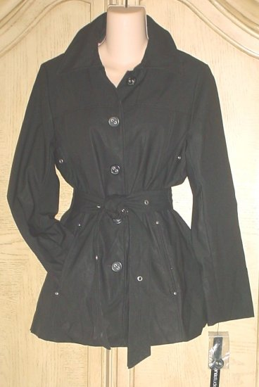 NWT LADIES BELTED TRENCH COAT Siena Studio Jacket  SIZE XS BLACK