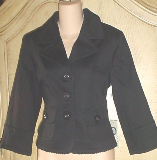 Misses KENAR CROPPED BLAZER Ladylike Fitted Jacket  SIZE 8 BLACK