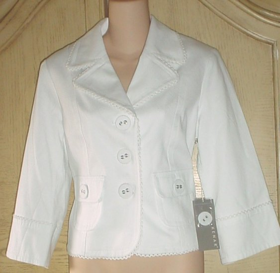 Misses KENAR CROPPED BLAZER Ladylike Fitted Jacket SIZE 8 WHITE