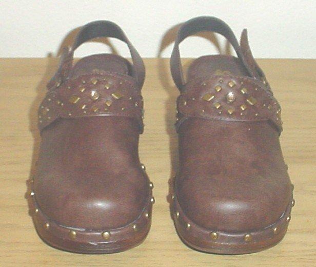 GIRLS Steve Madden PLATFORM SHOES Studded Clogs 3M BROWN Leather