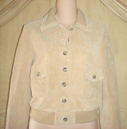 NEW Isaac Mizrahi SUEDE BOMBER JACKET Ladies Coat XL 16/18 GOLDEN TAN