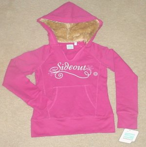 NEW Girls SIDEOUT FUR TRIM HOODIE Sweatshirt Top SMALL 7/8 PINK Cotton/Spandex