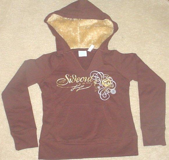 NEW Girls SIDEOUT GRAPHIC HOODIE Fur Trim Sweatshirt Top SMALL 7/8 BROWN Cotton/Spandex