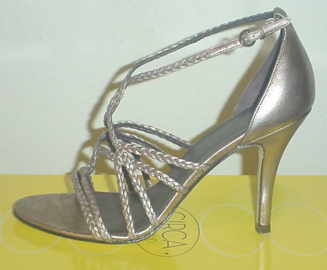 JOAN&DAVID STRAPPY SANDALS  Metallic Genevieve Heels 10M (40) PEWTER Leather Shoes