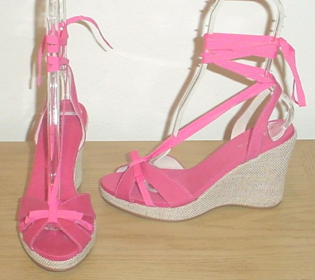NEW Unisa ANKLE TIE ESPADRILLES Platform Wedge Shoes SIZE 9.5 PINK
