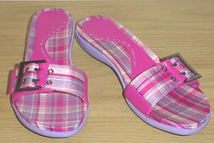 KENNETH COLE SANDALS Silk Madras Slides 6M PINK Shoes