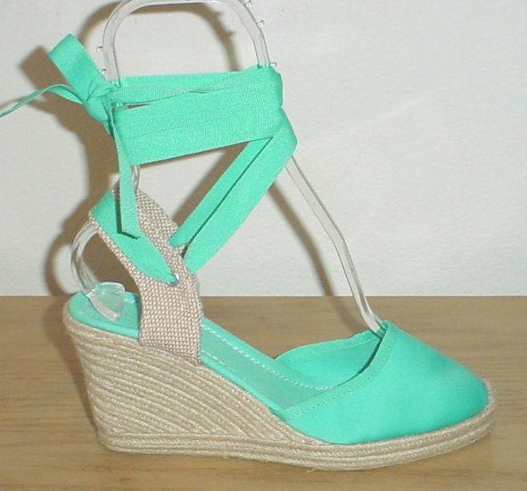 NEW Unisa WEDGE ESPADRILLES Ankle-Tie Shoes 10 AQUA Silk