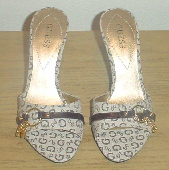 GUESS SIGNATURE SANDALS Slide Heels 10M TAN/BROWN Shoes