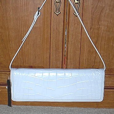 NICOLE MILLER Convertable SHOULDER BAG CLUTCH PURSE White Croc