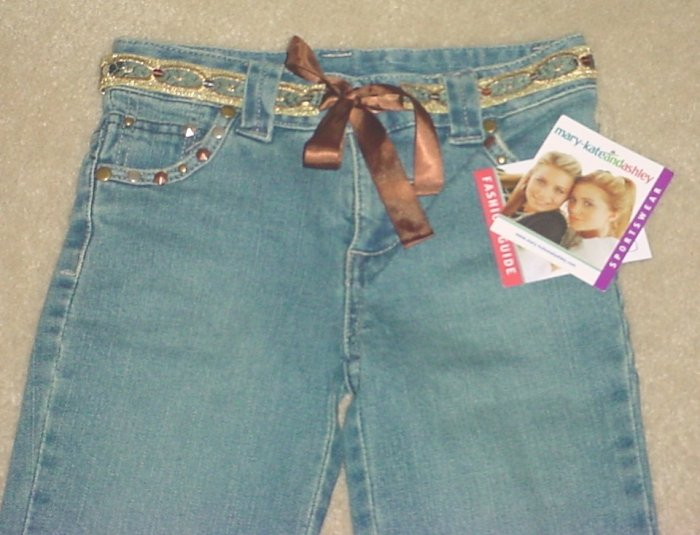 NWT GIRLS Mary-Kate and Ashley STUDDED 5 POCKET BOOTCUT JEANS SIZE 7