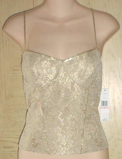 New CARMEN MARC VALVO CORSET CAMISOLE TOP Size 10 GOLD LACE Evening