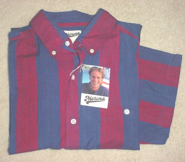 MENS Merona STRIPED SHORT SLEEVE SHIRT Button Front XL NAVY/ RED 100% Cotton