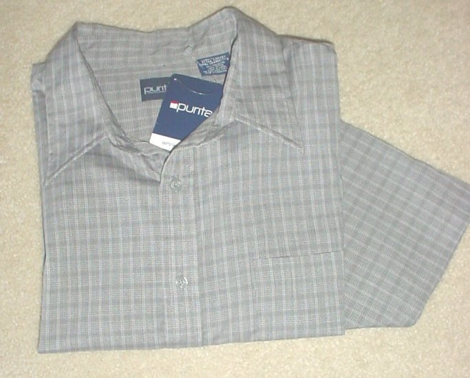 MEN'S Puritan SHORT SLEEVE SHIRT Button Front XL GRAY Cotton/Poly