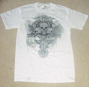 NEW Mens SKULL GRAPHIC T-SHIRT Short Sleeve Tee SMALL 100% Cotton WHITE