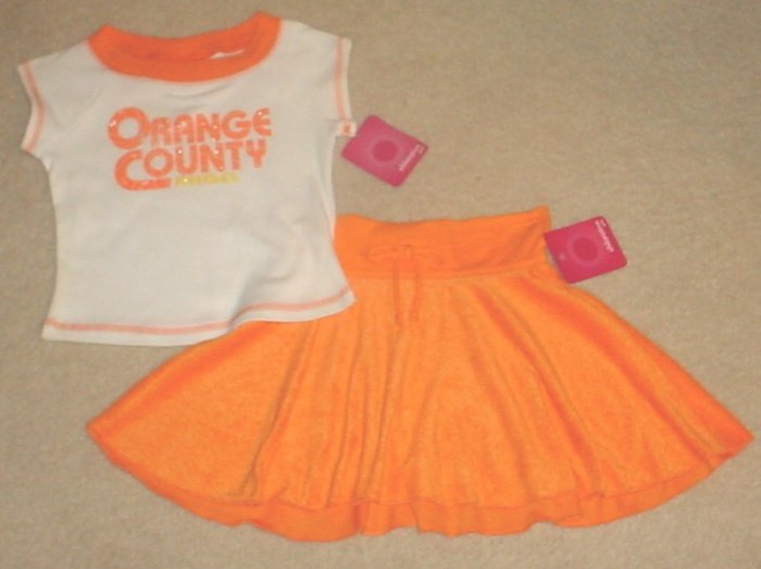 NEW Girls 2 PIECE SKIRT SET Outfit Graphic Tee + Matching Skirt SIZE 4/5 ORANGE