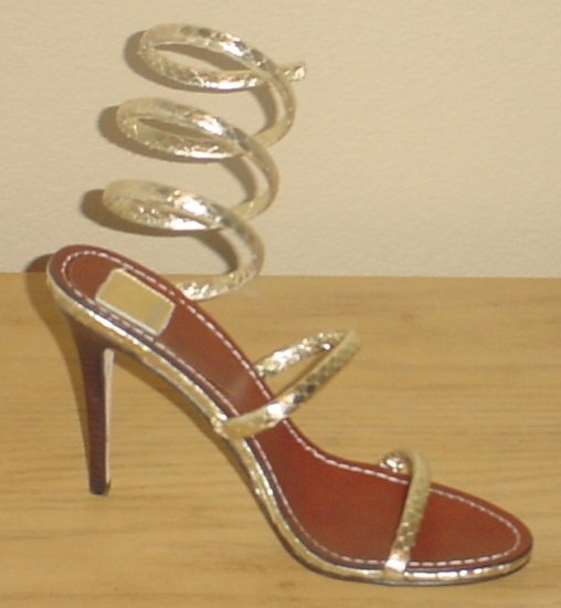 NIB Dolce Vita SEXY STILETTO SANDALS Magnolia METALLIC HEELS 7.5 GOLD SNAKE Shoes