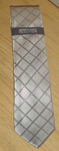 KENNETH COLE MENS TIE 100% SILK Necktie SILVER GRAY
