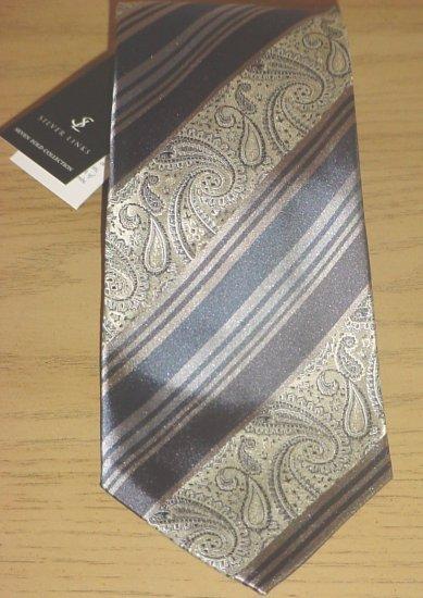 New SILVER LINKS MENS TIE 100% SILK Necktie GRAY/BLUE PAISLEY