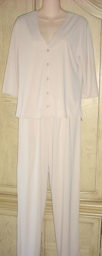 Ladies KATHY LEE 3 Pc OUTFIT STRETCH JERSEY Pants,Skirt,Top SMALL Tan