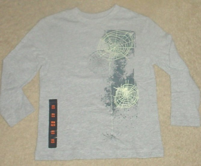 NWT Boys HALLOWEEN SPIDERWEB T-SHIRT 14/16 Long Sleeve Top GRAY