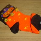 Ladies HALLOWEEN PUMPKIN SOCKS Cuffed Crew SIZE 9-11 BLACK/ORANGE