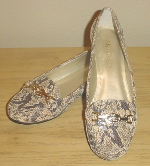 NEW Anne Klein BIT LOAFERS Leather Flats Shoes 6.5M BROWN SNAKESKIN