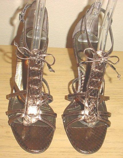 New VIA SPIGA GLADIATOR HEELS Metal Whips Strappy Sandals 8M BRONZE Snakeskin Shoes