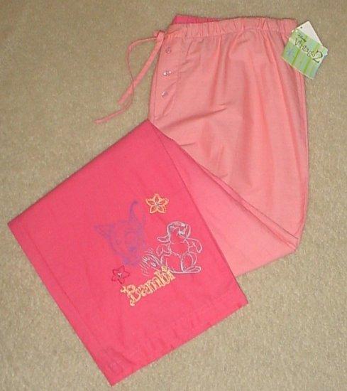 Ladies DISNEY PAJAMA BOTTOMS Bambi Lounge Pants M EDIUM Peach