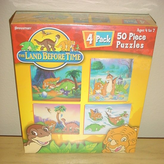 NIB LAND BEFORE TIME PUZZLE PACK 4 Dinosaur Puzzles